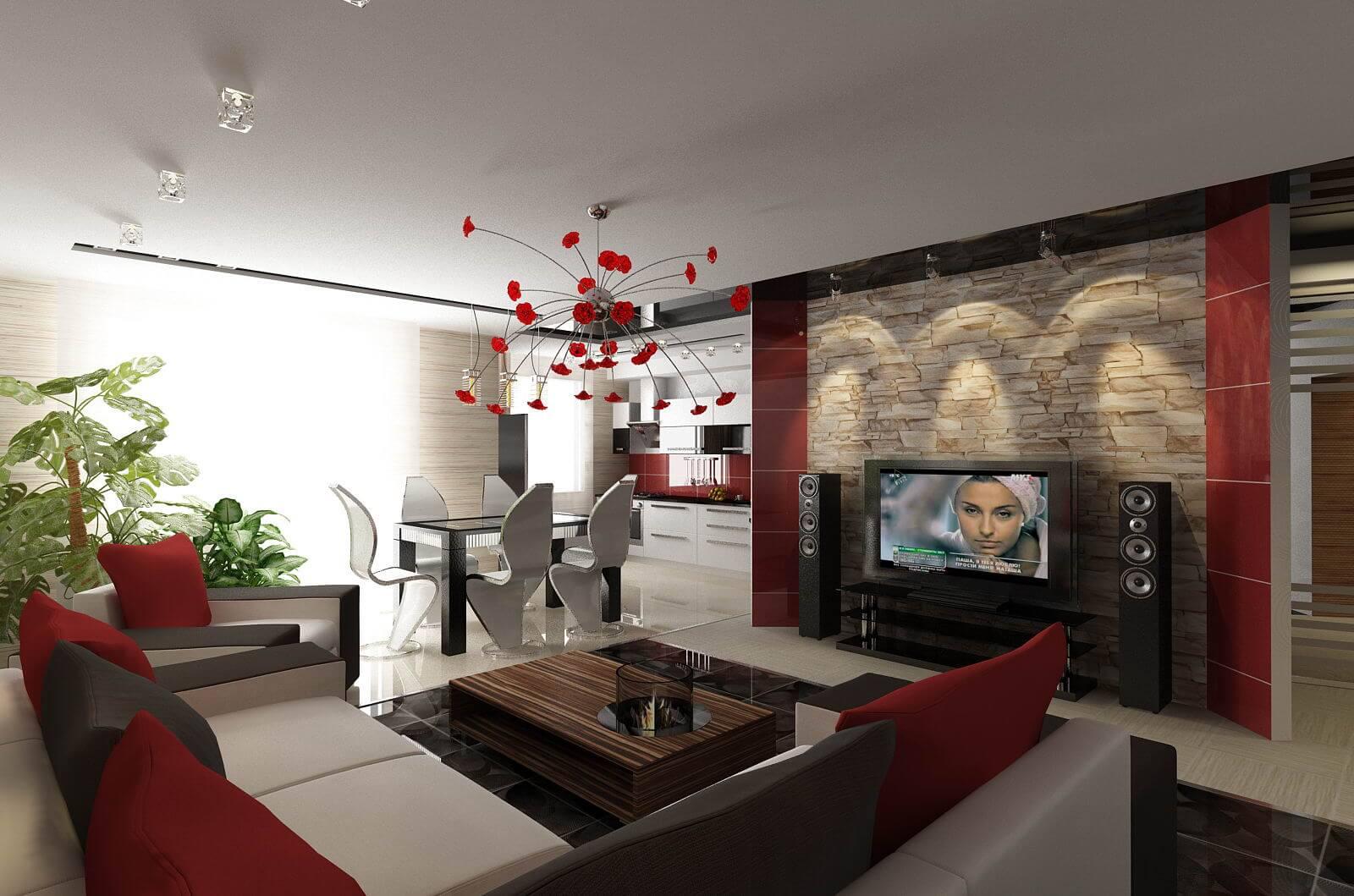 дизайн интерьера гостиной-кухни