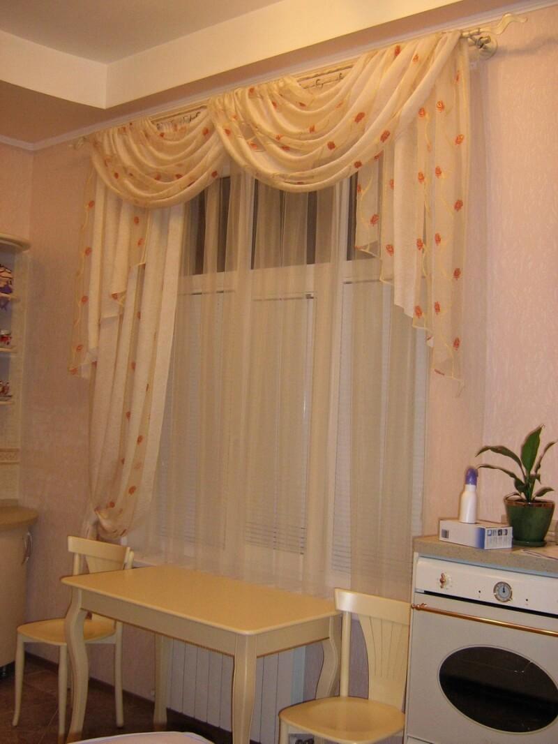 Фото дизайна тюли на кухню