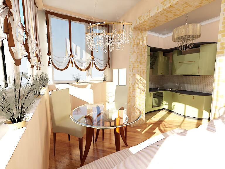 дизайн кухни совмещен с балконом