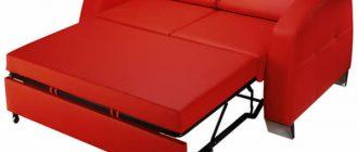 красный раскладной диван для кухни