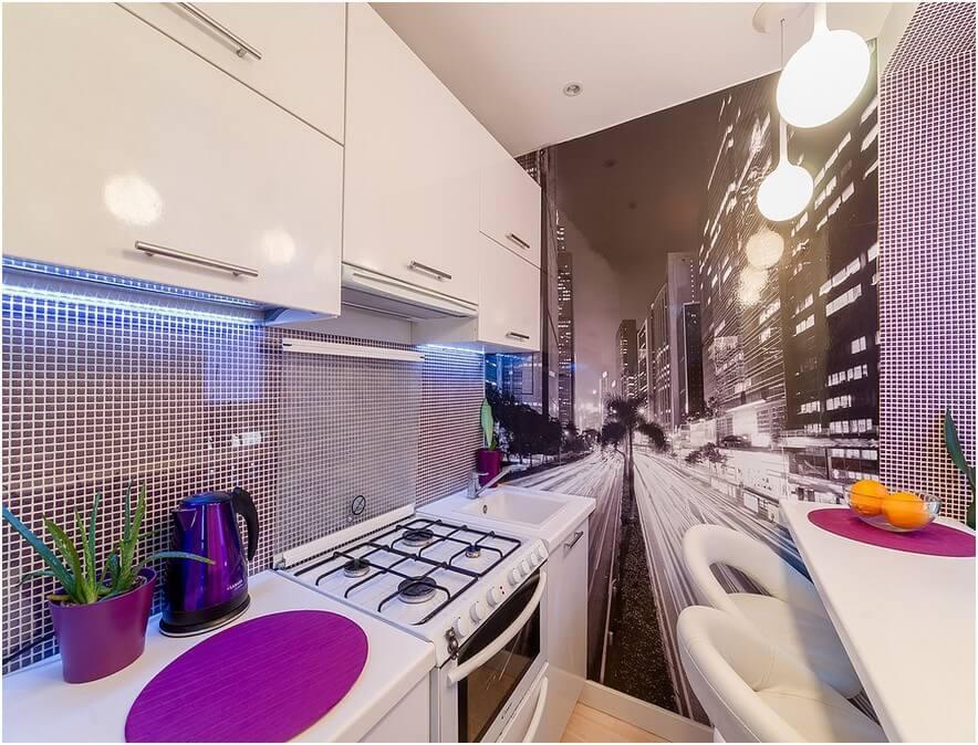 3Д фотообои для кухни город