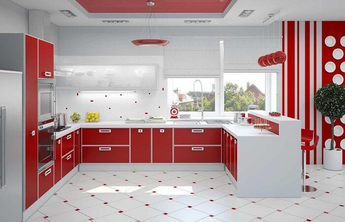 бело-красное цветовое решение кухни