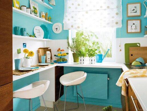цвет стен на кухне бирюзовый
