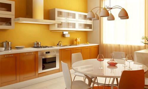 цвет стен на кухне оранжевый