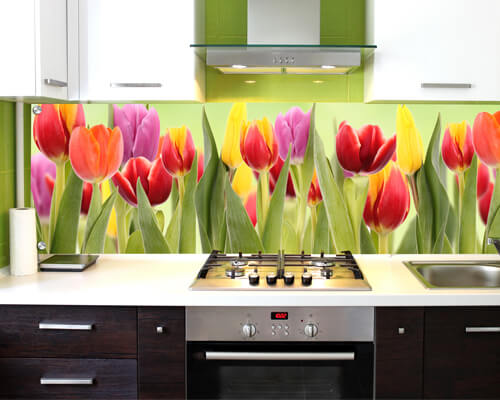 цветные стеновые панели на кухню фартук