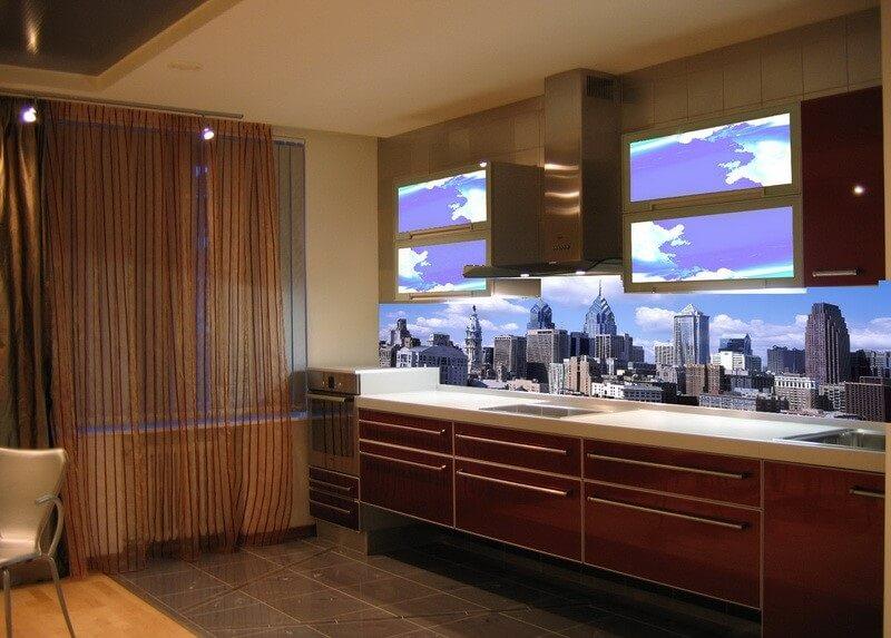 фотообои 3Д для кухни город