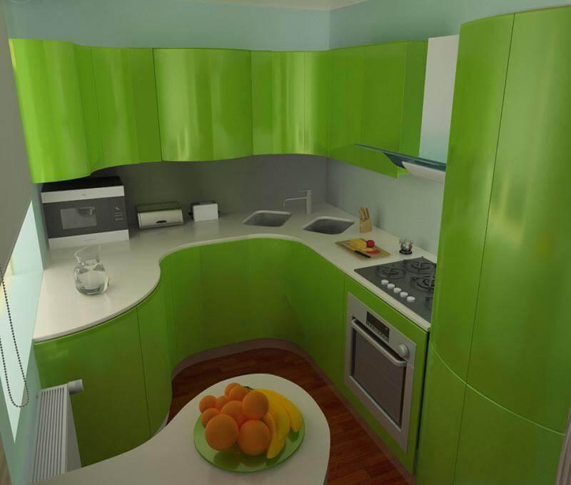 интерьер зеленой кухни 6 кв м