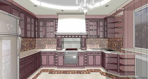 Фото интерьера кухни в стиле панно