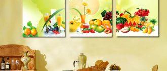 декорирование кухни яркими картинами