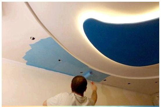 Потолок из гипсокартона чем покрасить