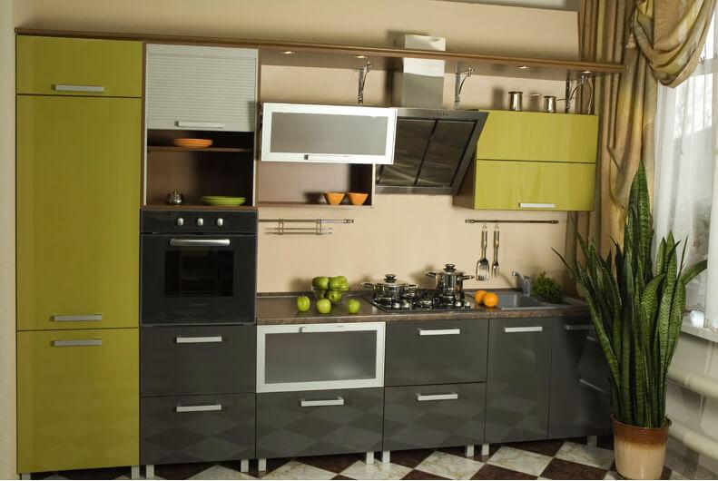кухня олива в стиле техно