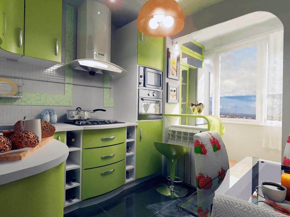 Дизайн 9 м кухни с лоджией