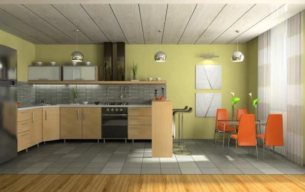 потолок из пластиковых панелей на кухне