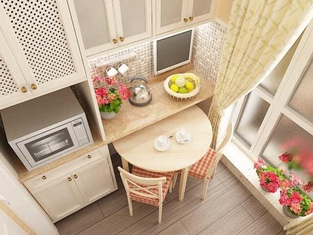 светлые тона правильное решение для маленькой кухни