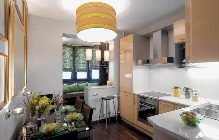 Кухня хрущевка объединенная с балконом.