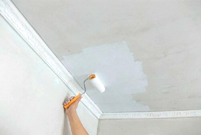 фото побелки потолка