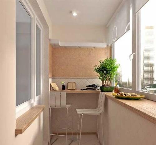 дизайн интерьер кухни на балконе фото
