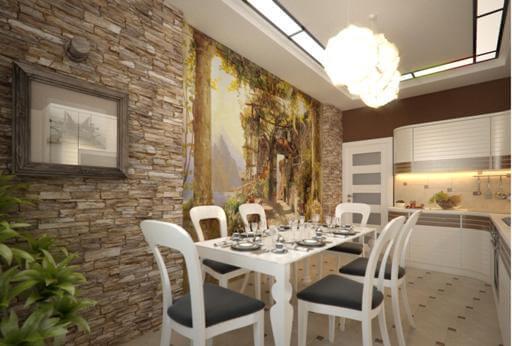 Дизайн стен на кухне фотообои