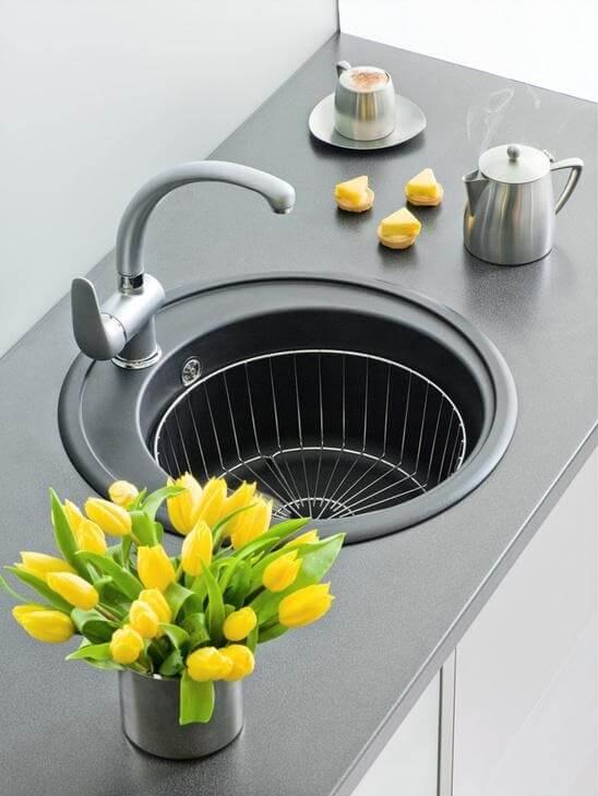 круглая раковина для кухни гранит