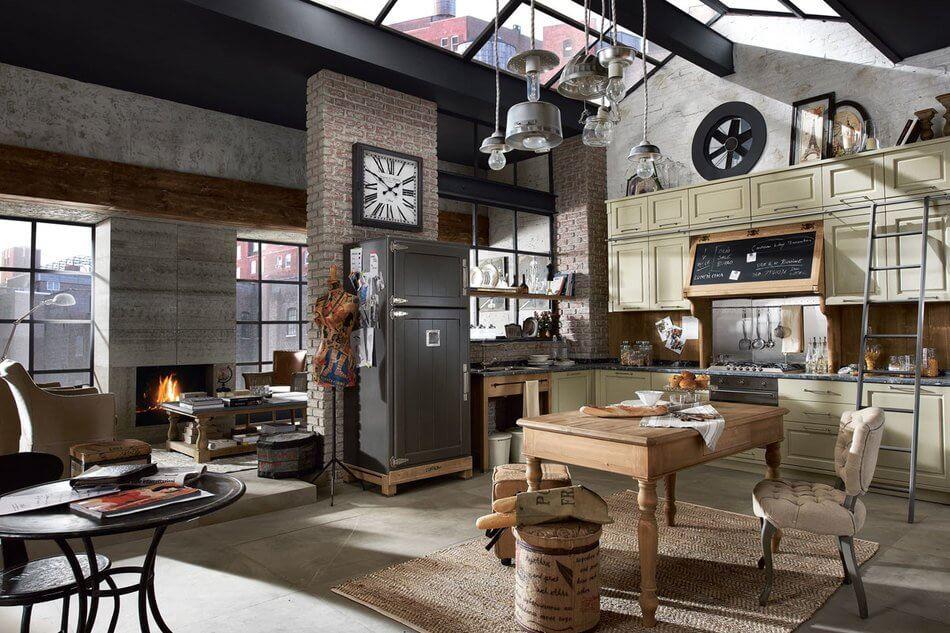 стильная кухня в лофт стиле