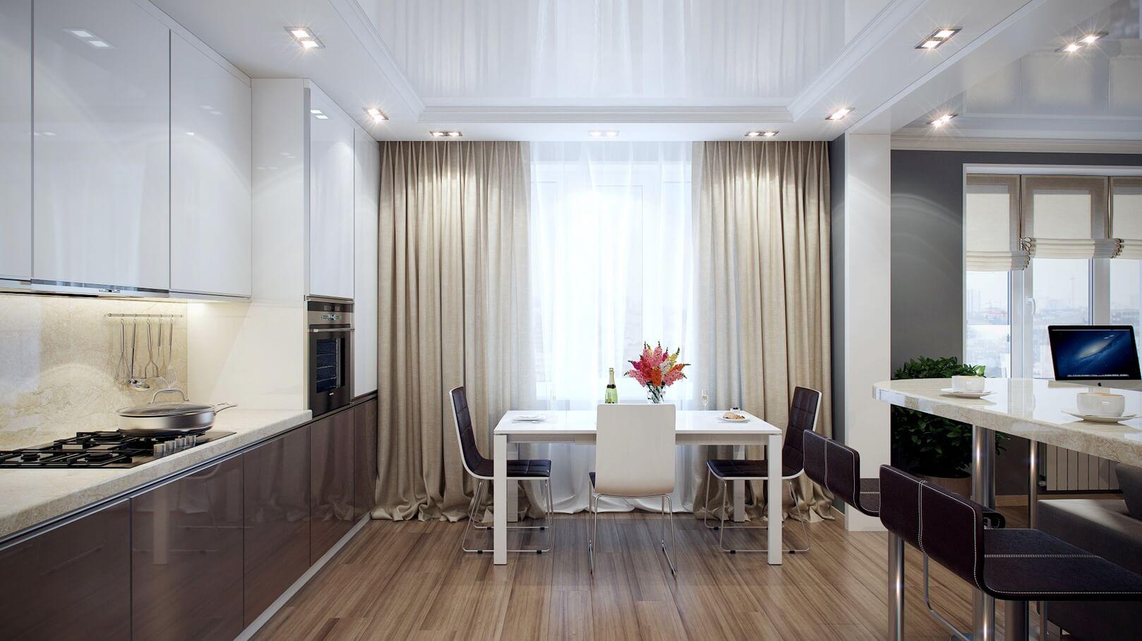 длинные шторы в интерьере кухни
