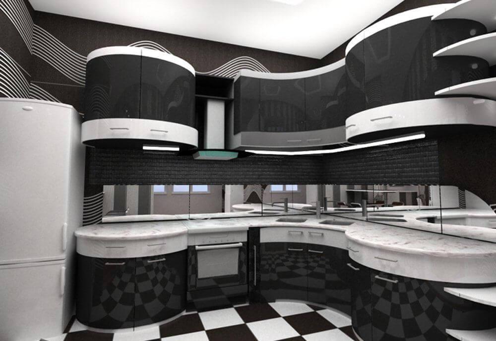 Угловые черно-белые кухни дизайн