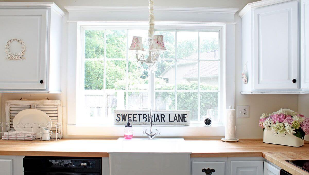 дизайн кухни большое окно