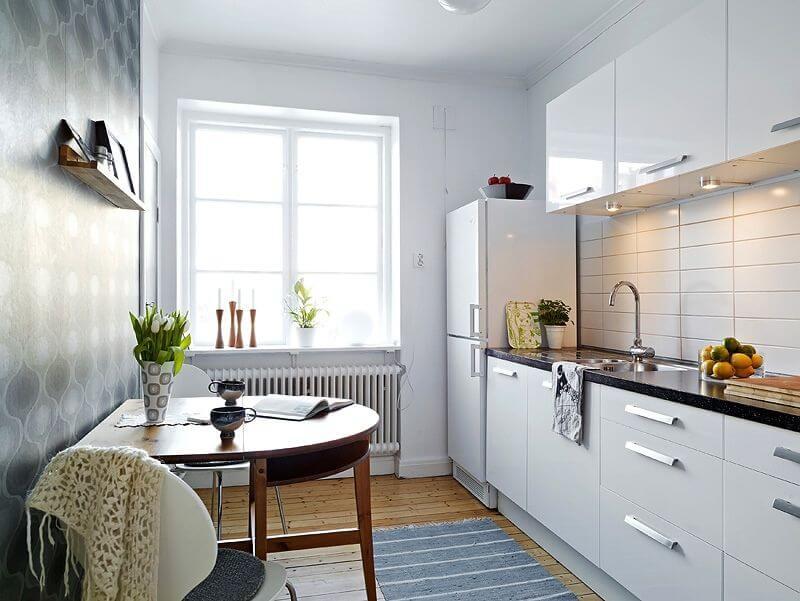 идеи для узкой кухни светлые тоны