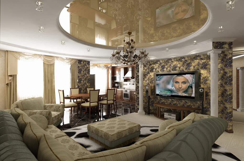 классический дизайн гостиной с кухней