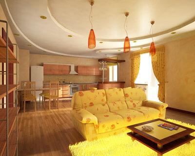 гостиная совмещенная с кухней в желтых тонах
