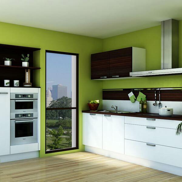 Лучший выбор это зеленые обои на кухне фото