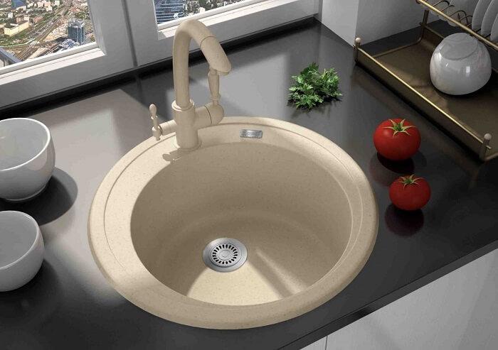 белая гранитная раковина для кухни