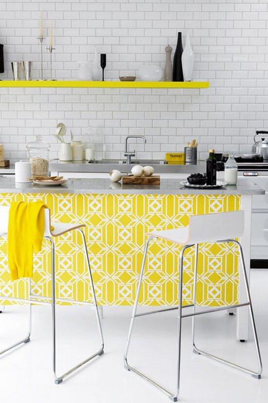 обои на кухню двухцветные