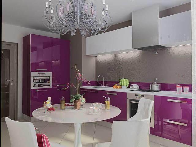 Сиреневая кухня в интерьере фото