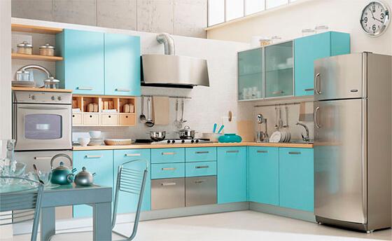 цветовое решение кухни аквамарин
