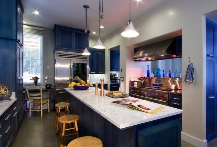 цветовое решение кухни синий