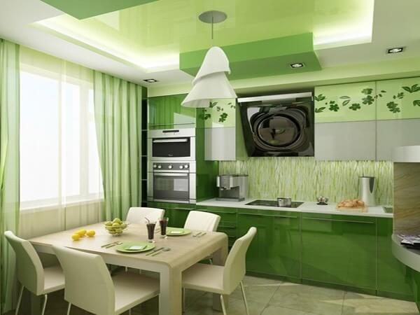 цветовое решение кухни зеленый