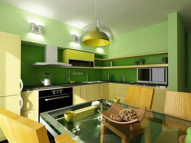 цветовое решение кухни желто-зеленый