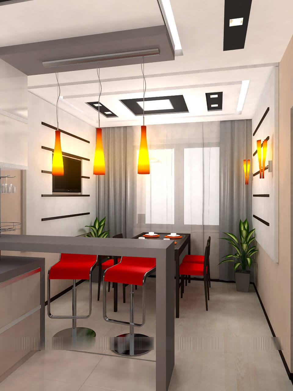 дизайн компактной кухни с барной стойкой