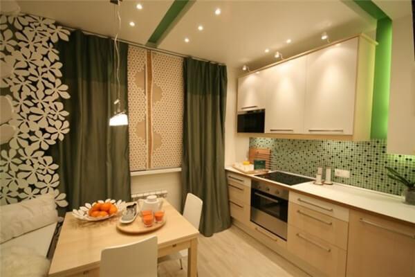 дизайн кухни 12 кв. м. с диваном
