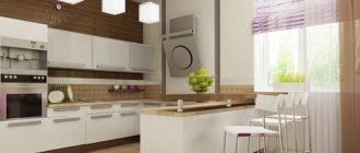 дизайн светлой кухни с барной стойкой