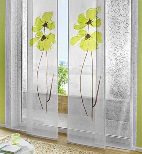длинные современные шторы для кухни фото