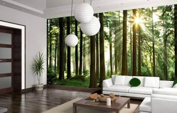 фотообои 3Д для кухни лес
