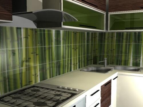 Плиточные панели стенового покрытия на кухню