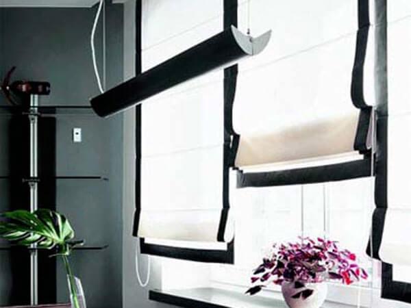 римские современные шторы для кухни фото