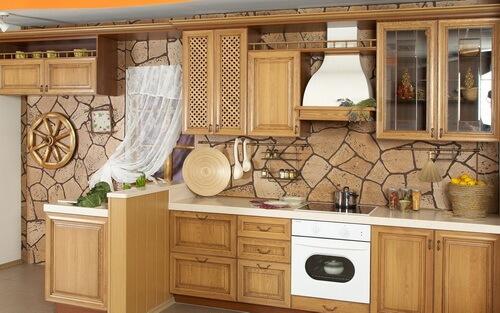 стиль кантри в просторной кухне