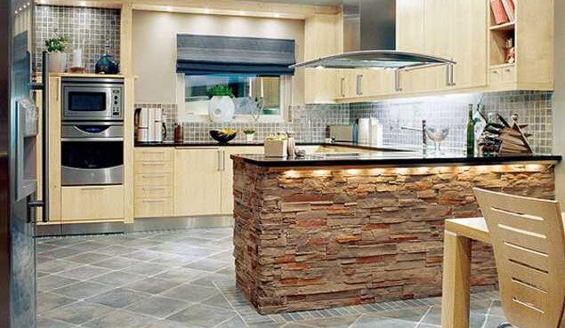 каменный декор кухня