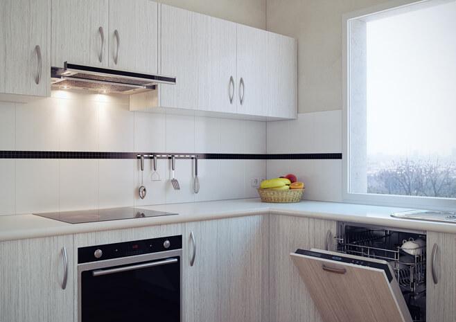 Встроенная вытяжка на кухне фото