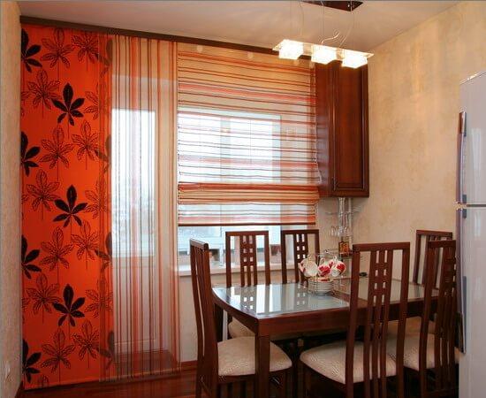 японские шторы в кухню фото