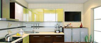 Кухня с фасадами из алюминиевого профиля и стекла.